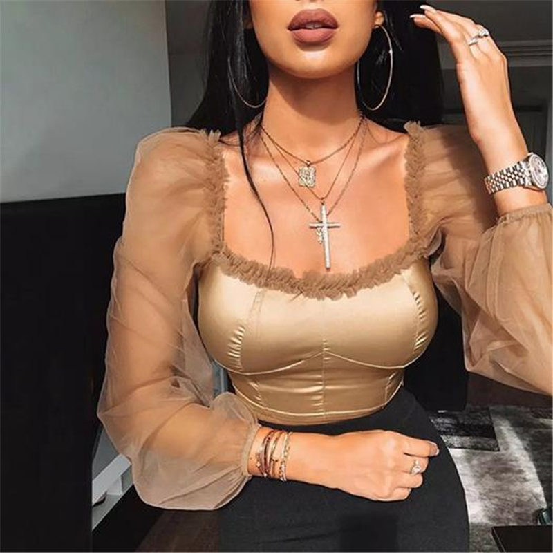 Women Blouses Cropped Tops Sheer Tee Casual Shirts Mesh Puff Sleeve Blouse Casual Slim Fit Square Neck Ladies Blouses Shirt