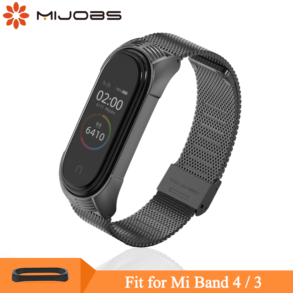 Mijobs Mi Band 4 3 Wrist Strap Metal Screwless Stainless Steel For Xiaomi Mi Band 4 3 Strap Bracelet Miband 4 3 Wristbands