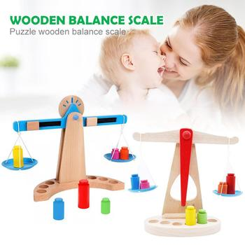 New Kids Montessori Materials Scales Weight Timber Set Early Learning Educational Toy Wooden Funny Math Toys Gifts For Children set montessori educational baby early evelopment scale funny balance game wooden toy children math toy gift