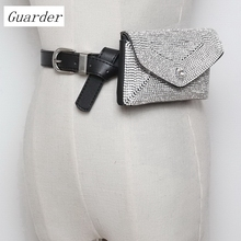 Guarder Brand Luxury Designer Fanny Pack Tassel Rhinestone Women Waist Bag Money Phone Pouch Fashion Lady Belt Purse GUA0027