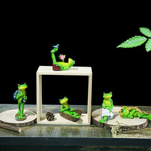 5 pcs/set Cute Frog for Home Room Garden Decoration Small Oranments Mini Frogs Resin Craft Model Doll Kids Game Gift Supplies