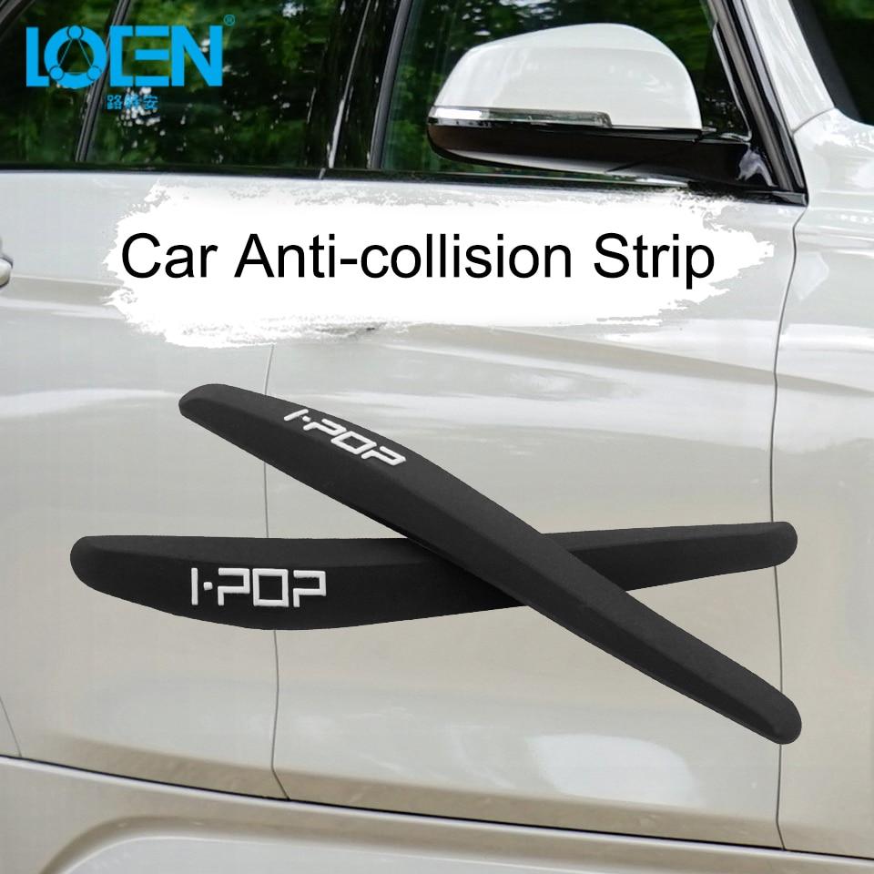 LOEN 4Pieces Car Door Protective Sticker Rearview Mirror Flexible Soft Edge Guard Trim Molding Crash Scratch Protector Decals