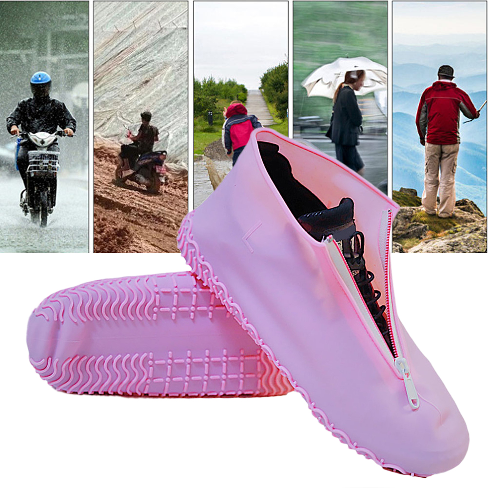 1 Pair Waterproof Shoes Cover Silicone Unisex Shoes Protectors Zipper Rain High-Top Anti-Slip Shoes Cases Travel Outdoor #20