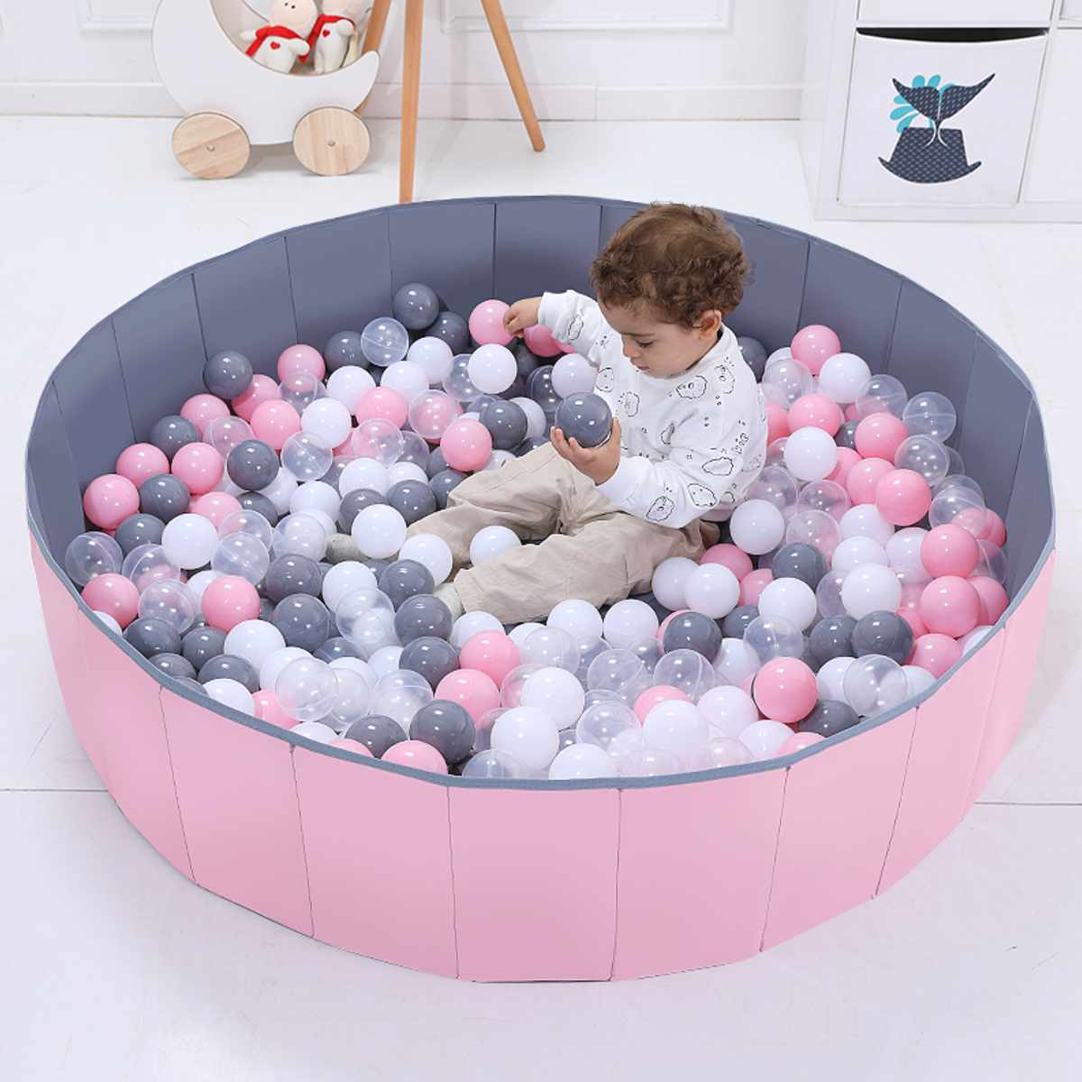 Foldable Baby Playpen  80x26cm Folding Children Kids Outdoor & Indoor Playing Ocean Ball Pool Child Baby Fence 100pcs Ball