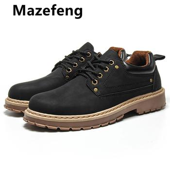 Mazefeng 2019 nowych mężczyzna przypadkowi prawdziwej skóry buty mężczyzna Martins rzemienni buty buty robocze bhp zimy wodoodporni kostki Botas tanie i dobre opinie Skóra bydlęca RUBBER Wiosna jesień Oksfordzie Pasuje prawda na wymiar weź swój normalny rozmiar Oddychające Wodoodporna