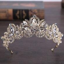 Tiara de corona de lujo estilo barroco para mujer, accesorios para el cabello de boda, color dorado claro, Cristal AB, para novia, 2019