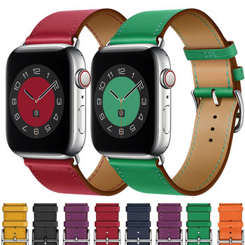 Strap for Apple watch band leather 44mm 40mm 38mm 42 mm iWatch series 6 se 5 4 3 Single tour bracelet Apple watch band 40 44 mm недорого