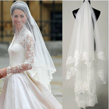 Two Layers Bridal Veil for Wedding Lace Edge Appliqued Tulle 2 Tiers Elbow Length Short Bride Veil