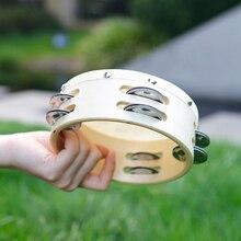 6 дюймов Деревянный Бубен колокольчик ручной барабан овчины барабанная головка двухрядные джинглы Orff инструмент для детей музыкальная игрушка