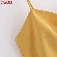 Tangada Women Yellow Sexy Party Dress Sleeveless Backless 2021 Fashion Lady Midi Dresses Robe 3H140 3