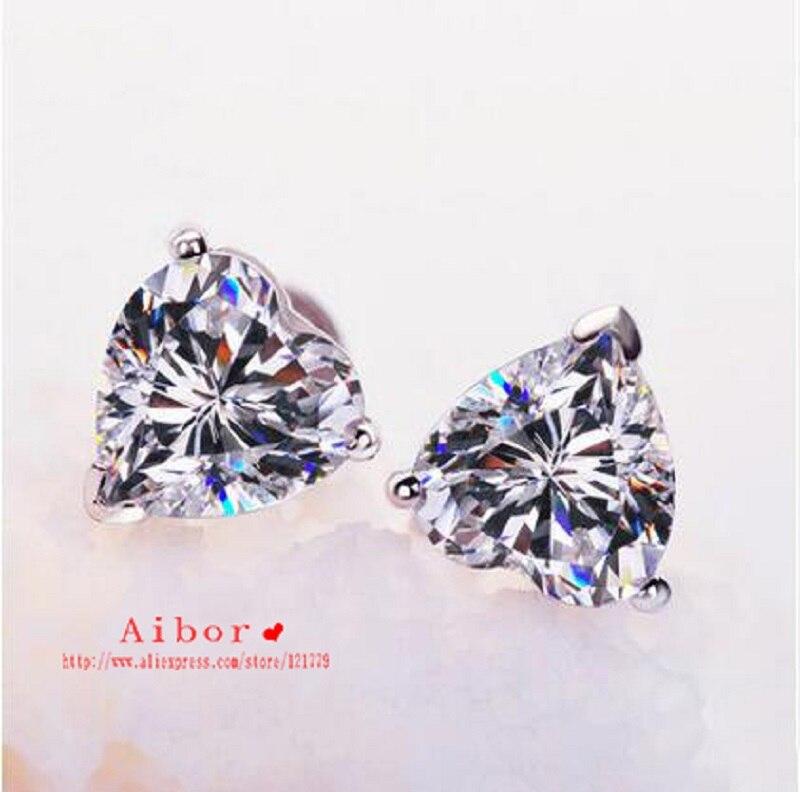 TE206 livraison gratuite! 1 carat coeur brillant coupe Grade sona synthétique gemme boucles d'oreilles ensemble de mariage pour les femmes