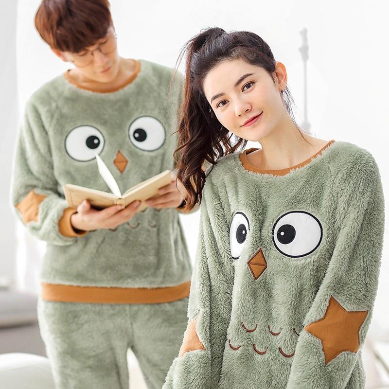JRMISSLI Couple Pajama Set Cotton Pijamas Flannel Sleepwear Home Suit Pyjama For Lover Man Woman Lovers' Clothes