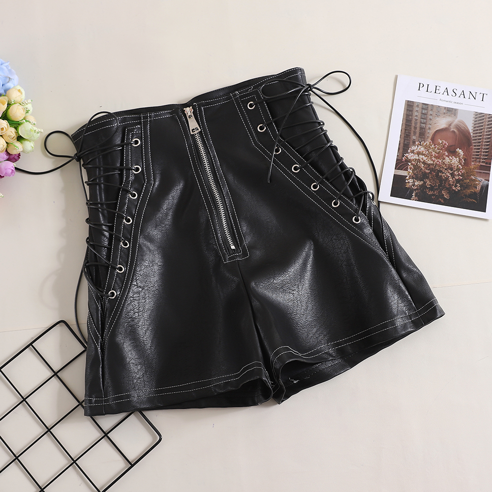 MUMUZI Lace Up Leather Shorts American Fashion New Black And White Leather Shorts Simple Design Casual High Waist Shorts Female
