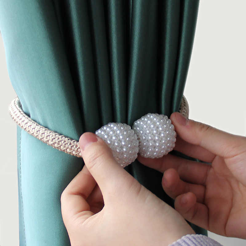 Magnetic Curtain Strap Rope ABS Pearl Tiebacks Clips Buckle Holdbacks Home Decor
