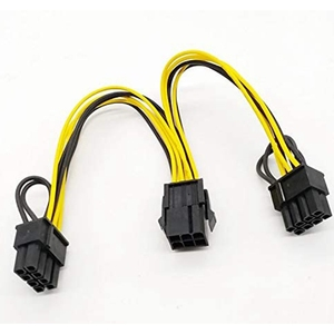 Image 2 - 6PCS GPU VGA PCIe 6 Pin Female to Dual 2X 8 Pin (6+2) Male PCI Express Power Adapter Y Splitter Extension Cable (20cm)
