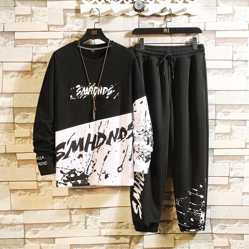Tracksuits Mens  Sport Set Suits Polyester Sweatshirt 2019 Spring Hoodies + Joggers Pants Casual Men Track Sportswear Fitness