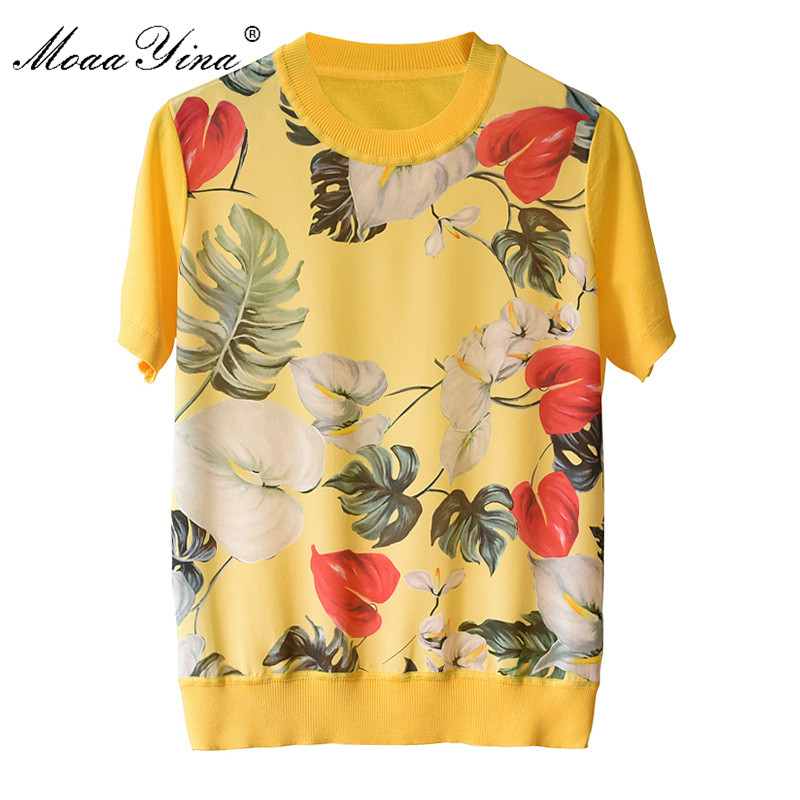 MoaaYina Runway Designer Silk Flower Print Patchwork Knitting  Women's Fashion Summer Short Sleeve Tops