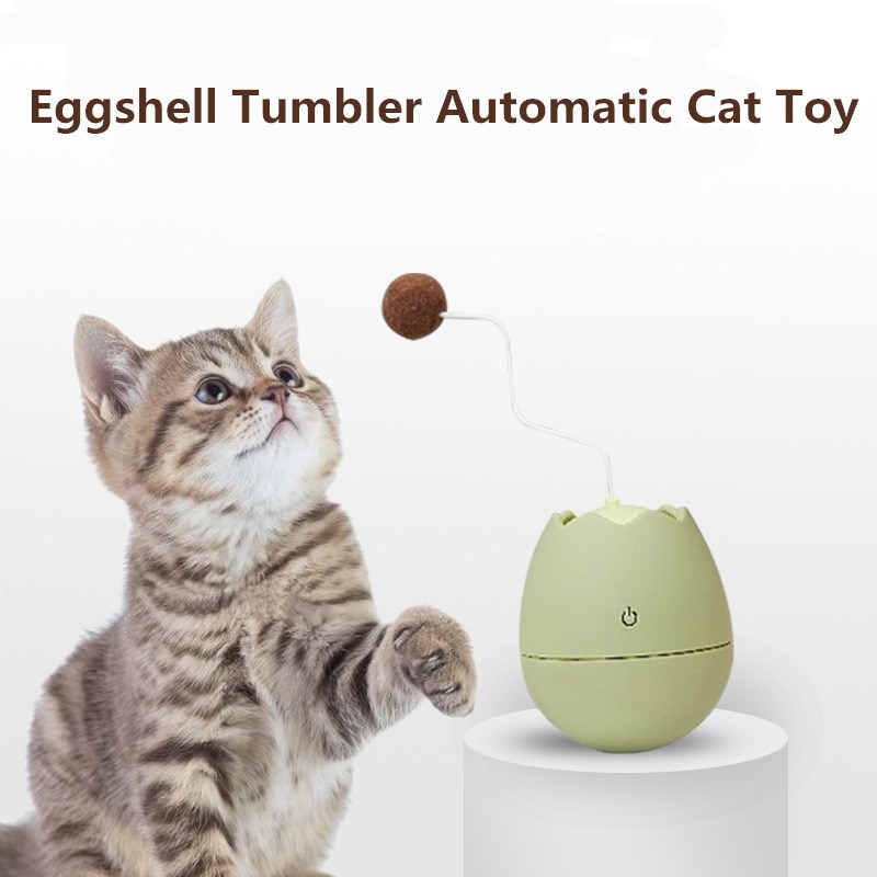 Cat Toy Eggshell Tumbler Automatic Funny Cat Toy Mute Electric Self swing Ball Artifact Cat Stick Creative Design Cat Supplies|Cat Toys|   - AliExpress