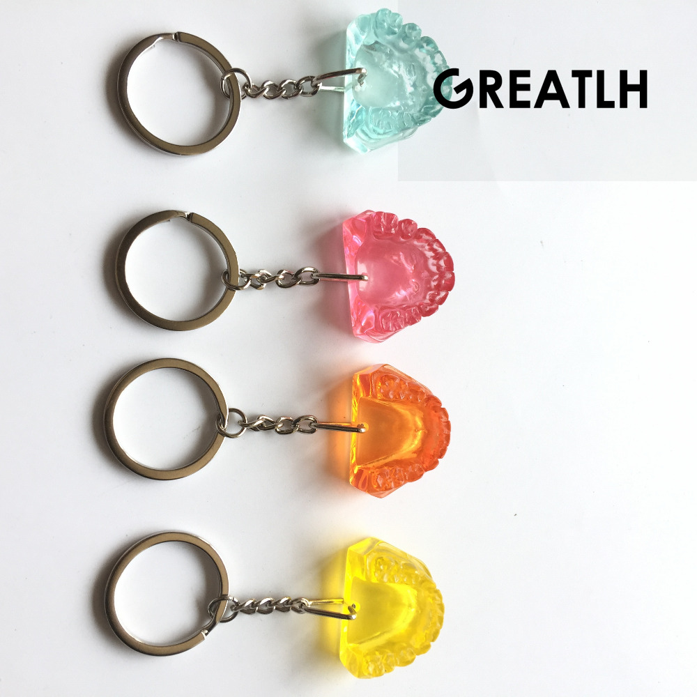 4PCS Dental Colorful Mandibul Teeth Model Keychain Dentist Gift Mobile Chain