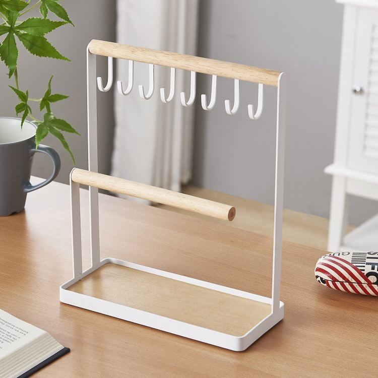 Jewelry Display Stand Holder With Wooden Ring Tray And Hooks Storage Necklaces Bracelets, Rings, Watches