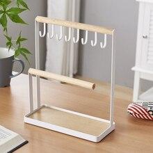 תכשיטי תצוגת Stand מחזיק עם עץ טבעת מגש וווים אחסון שרשראות צמידים, טבעות, שעונים