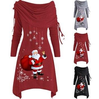 Vestido De Navidad De manga larga Para Mujer, estampado De Papá Noel,...