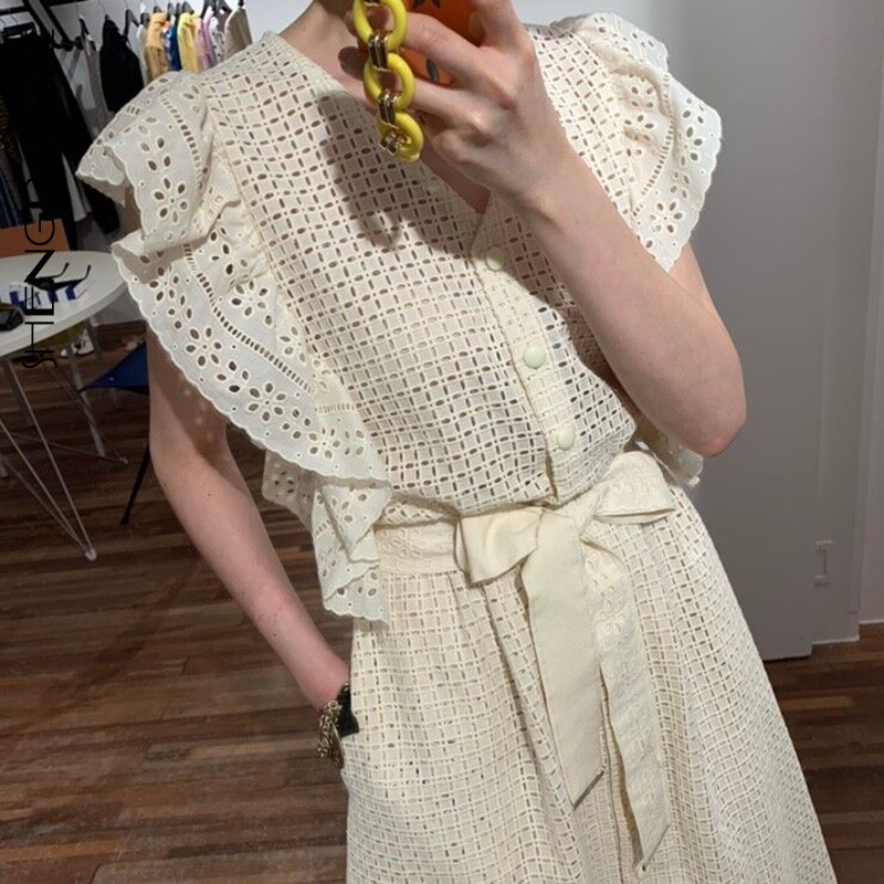 SHENGPALAE 2020 New Summer Women Vintage Loose High Waist Slim Was Thin Elegant V-neck Single Breasted Maxi Dress ZA4601