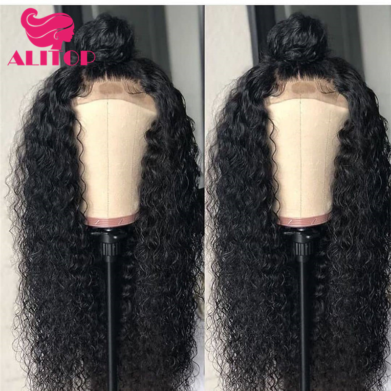 ALITOP 13x6 Lace Front Human Hair Wigs Curly Human Hair Wig 130% Density Bleached Knots Indian Remy Pre-Plucked With Baby Hair