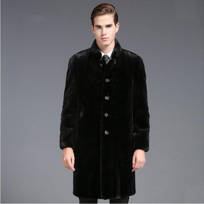 New Luxury Men's Fur Coat Black Single Breasted Business Casual Formal Coat Faux Mink Fur Overcoat Parka Winter Warm Jacket