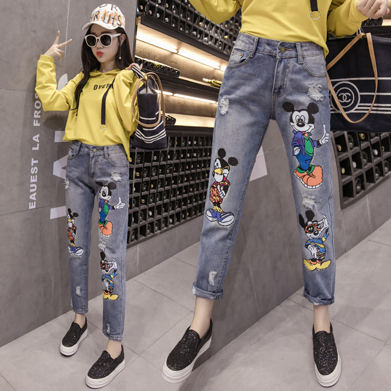 Plus Size Jeans For Women Summer High Waist Embroidery Mouse Soft Denim Trousers Blue Ladies Sexy Long  Pants