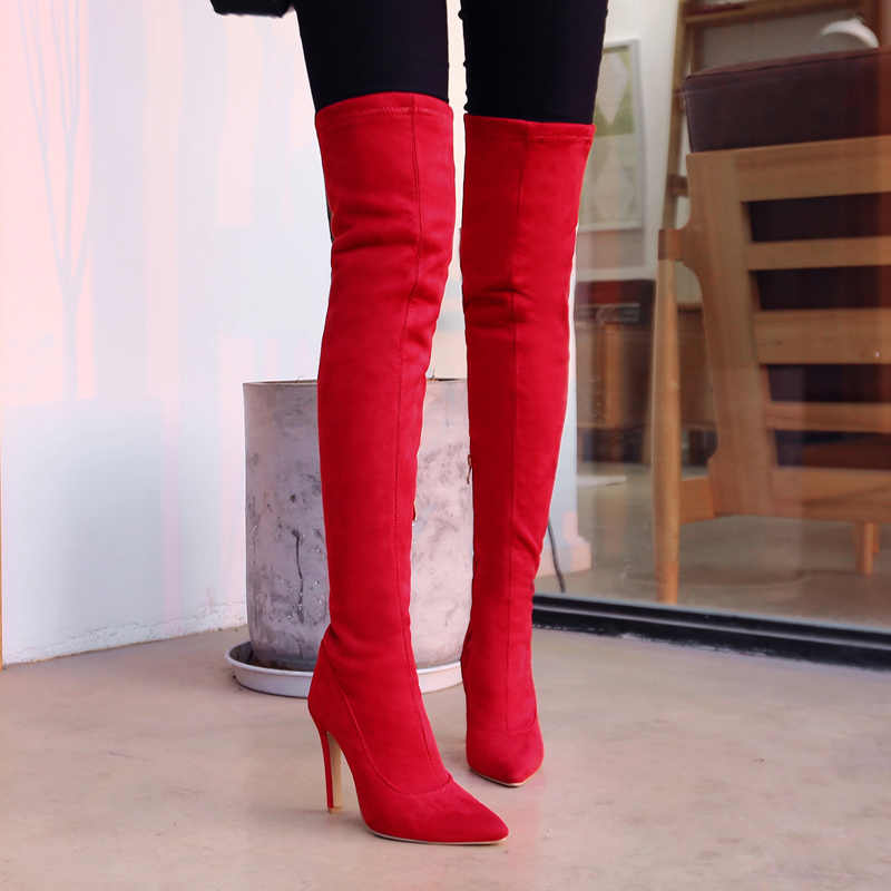 Faux Suede Stretch Thigh High Boots