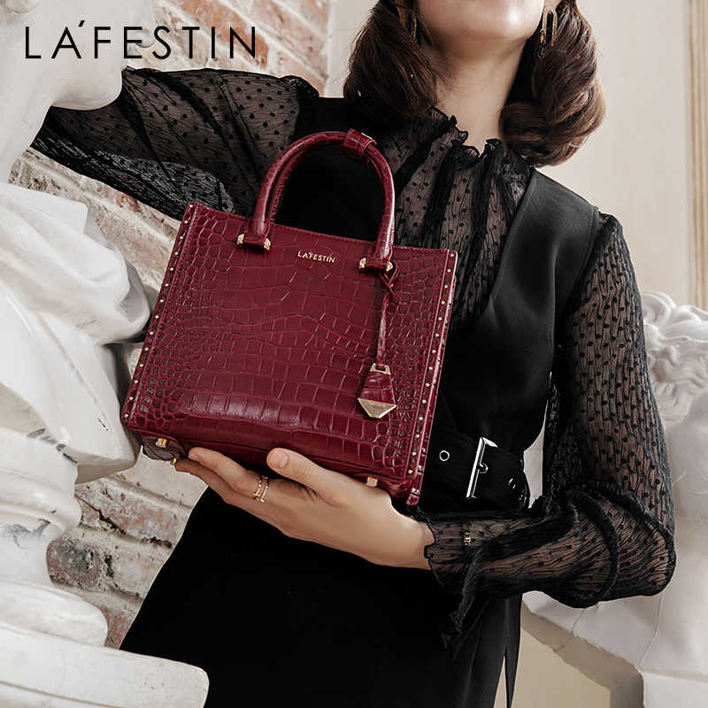 LAFESTIN high-grade crocodile texture handbag 2019 new large-capacity women handbag retro shoulder bag fashion Messenger bag