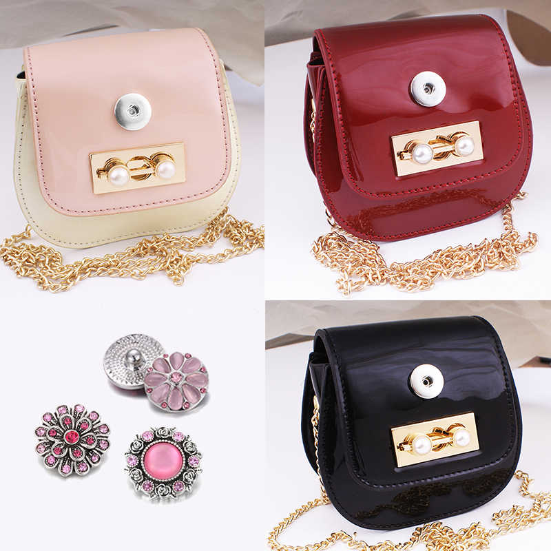 fashion limited edition  pink 18mm snap button jewelry   DIY small bag    Women  girls  Q866