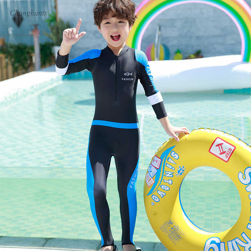 Boys Long Sleeve Rash Guard Children One Piece Swimsuit Kids Surfing Wear  Swimming Pool Blue Patchwork Baby Sandy Suit Rash Guard  - AliExpress