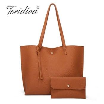 Women Soft Leather Bag Large Capacity Tote Bag Tassel Shoulder Bags Fashion Handbag Composite Women Bags Travel Totes