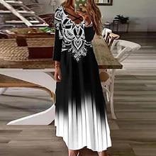 Primavera outono manga longa vestido feminino vintage boêmio impressão tornozelo comprimento vestido casual bandagem oco para fora v pescoço roupas femininas