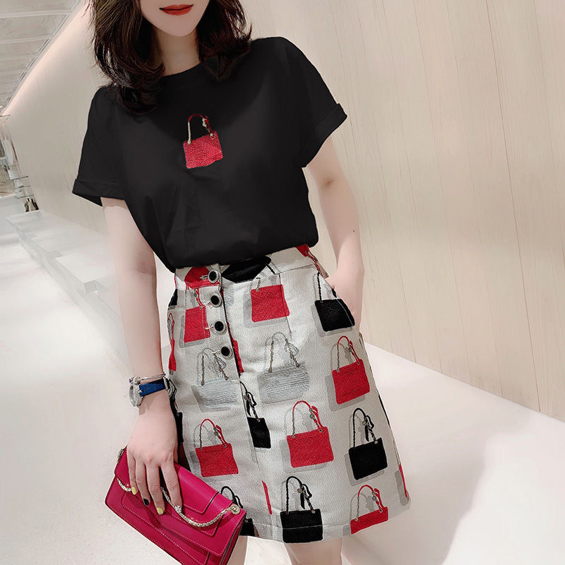 Women  Summer Clothing Set Fashion Vintage Embroidery Bags Short Sleeve Blouse Tees Tops And Print Skirts Suit Sets NS276