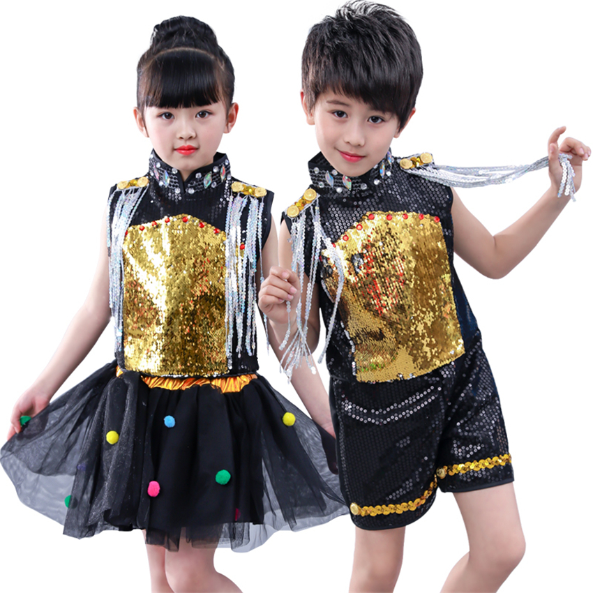 Children Sequins Jazz Dance Costumes Set Stage Boy Girl Hip-hop Dress Performance Costumes Children Modern Dance Jazz Dancewear