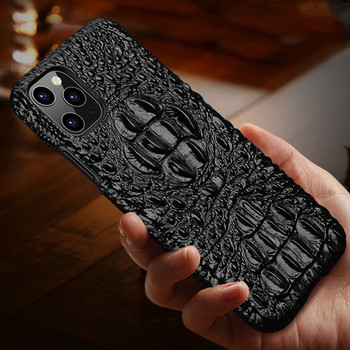 Luxury Genuine Leather Phone Case For Apple Iphone X Xs 11 Pro Max Xr 7 8 Plus Back Cover 3d Crocodile Grain Hard Case Coque Fun