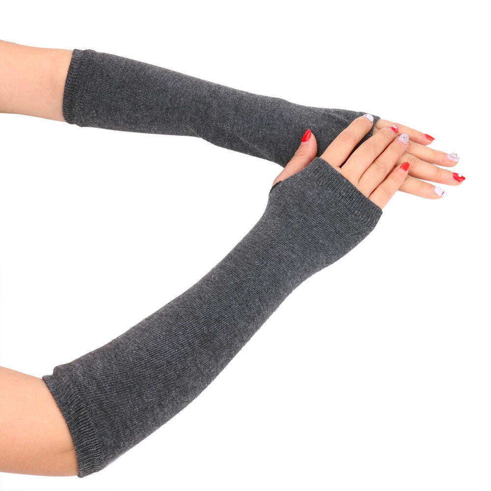 Women Winter Gloves Fashion Windproof Warm Solid Knitted Gloves Long Fingerless Gloves Mittens Arm Gloves Mittens For Women