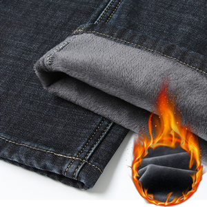 Image 5 - 2019冬の新メンズ暖かいレギュラーフィットジーンズビジネスファッション厚手のフリースデニムストレッチジーンズズボン男性ブランドパンツ黒