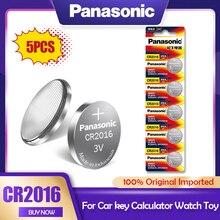 Литиевая батарея Panasonic CR2016 3 в, 5 шт./лот, CR 2016 DL2016 LM2016 KCR2016 ECR2016 GPCR для часов, игрушечного автомобиля, кнопочный элемент, монета