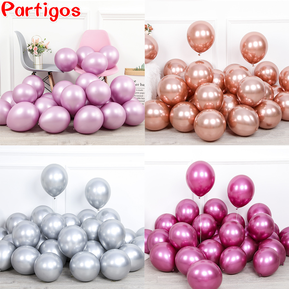20pcs 12inch New Glossy Baby Pink Metal Pearl Latex Balloon Rose Gold Thick Chrome Metallic Globos Wedding Birthday Party Decor