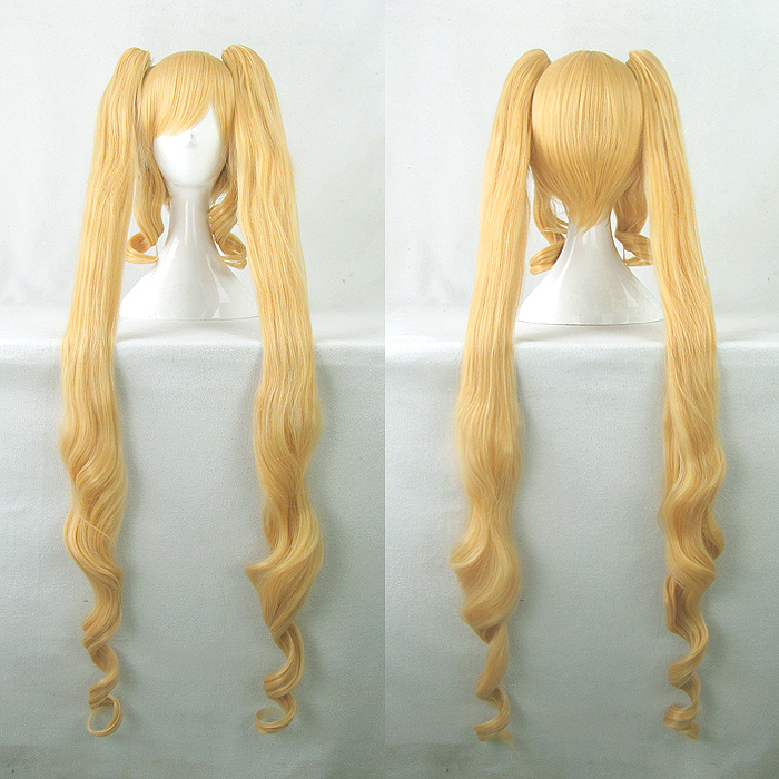 Rozen Maiden Shin ku Cosplay Wigs High-temperature Fiber Synthetic Hair Golden Long Curly Hair With free wig cap