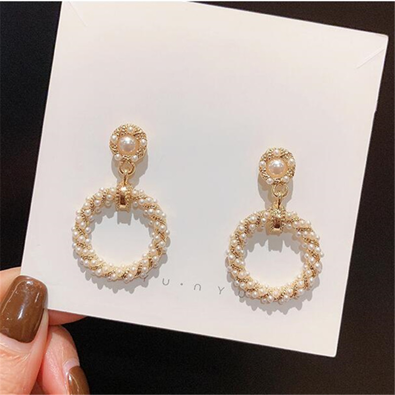 2019 New Fashion Hoop-Earrings For Women Crystal Pearl Hollow Round Circle Ear Jewelry Gift For Wedding Brincos