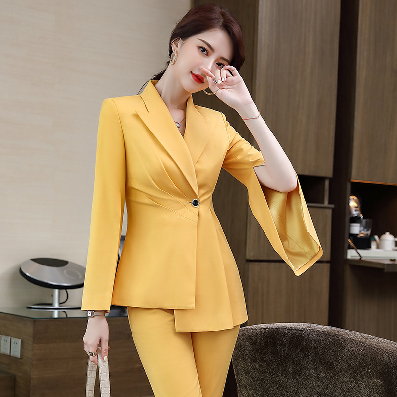 Women plus size S-4XL high quality office suit pants two-piece overalls Autumn and winter mid-length ladies jacket Slim trousers