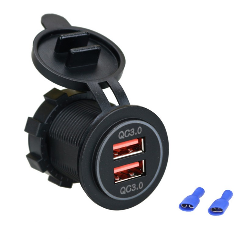 12/24V QC3.0 Dual USB Port Motorcycle Car Socket Charger for Mobile Cell Phone Dual USB Charger 2 Port Power Socket