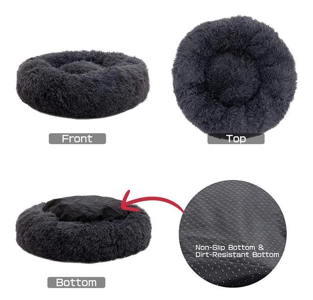 Soft Pet Dog Bed Round Washable Long Plush Dog Cushion 3