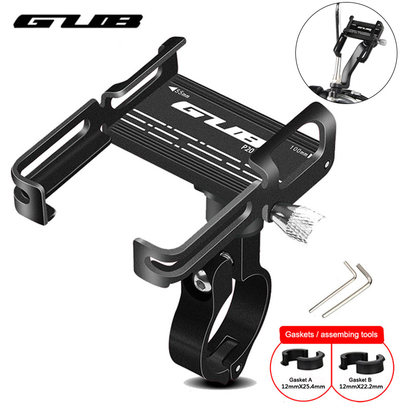 """GUB P10 P20 Aluminum Bike Phone Holder For 3.5"""" to 7.5"""" Device Bicycle Phone Stand Scooter Moto Mount Support Handlebar Clips"""