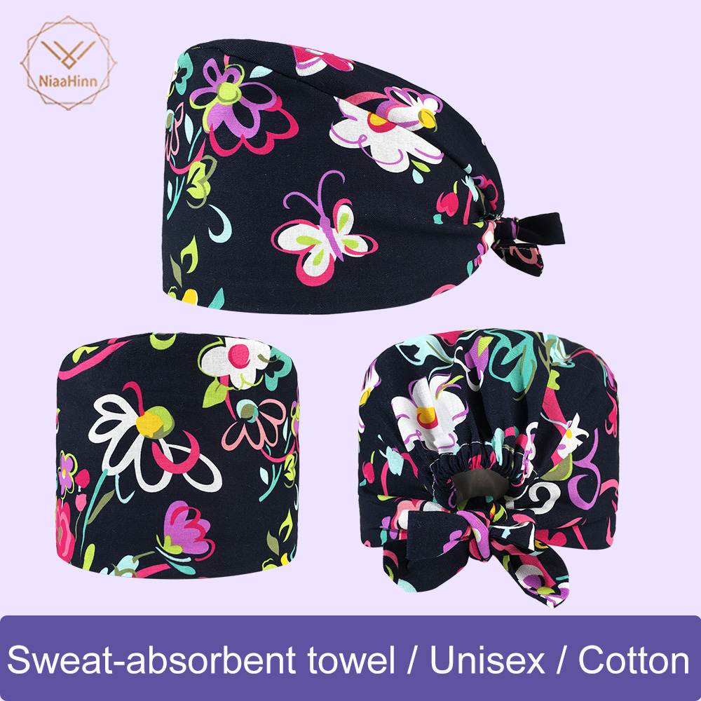 Wholesale Prices New Spring And Summer Multicolor Printing Operating Room Hats Beauty Doctors Work Cap 100% Cotton Surgery Cap